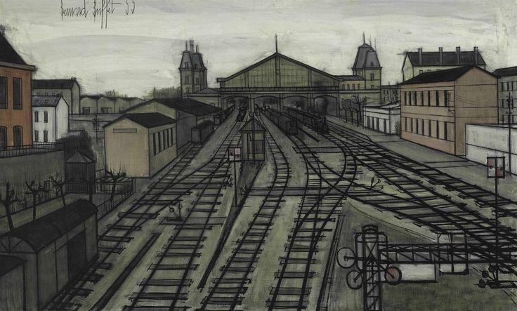 Bernard Buffet (1928-1999) La Gare, 1955