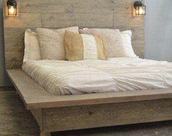 Cadre de lit plate-forme bois flottant avec tête de lit-Quilmes éclairé