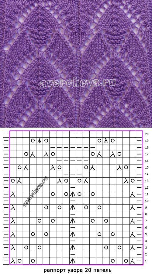 узор спицами 532 | каталог вязаных спицами узоров