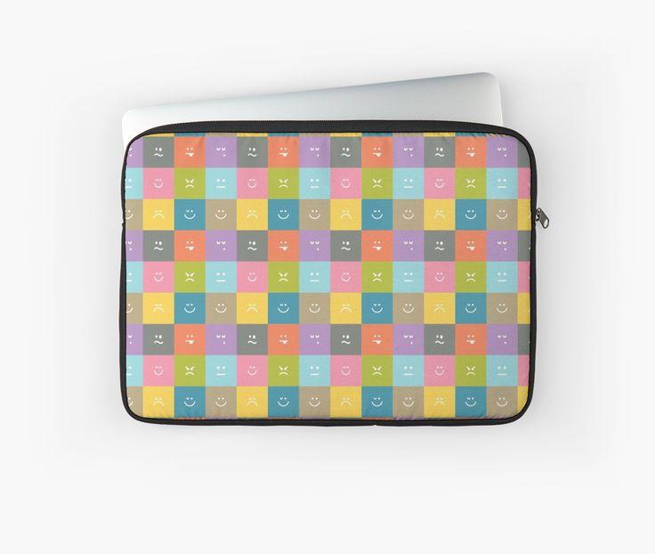 Emoji Emoticon Pattern Illustration by Gordon White   Emoji Macbook Air Laptop Sleeve Available in 3 Sizes @redbubble --------------------------- #redbubble #emoji #emoticon #smiley #faces #cute #addorable #pattern #laptop #sleeve #macbook