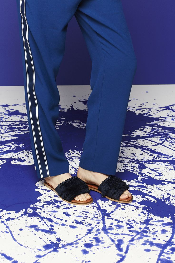 The stripe gives these blue pants the wow factor.