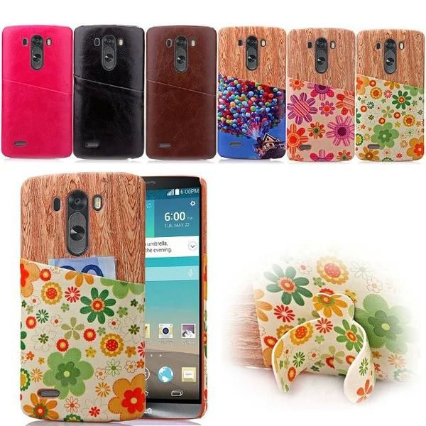 For LG G3 / D835 D850 Unique Stained wood grain Back Case Leather Cases Card Slot Case Cover For LG3 G 3