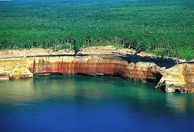 Pictured Rocks in the Upper Peninsula of Michigan... I've been there... Soo amazing in person.