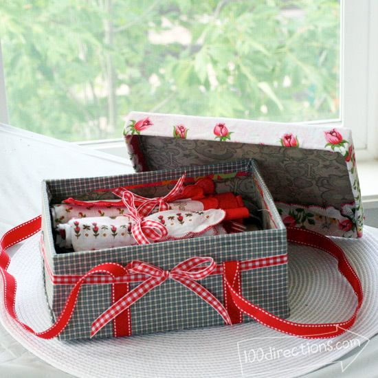 Make a picnic basket out of a shoebox by Jen Goode - tutorial at 100Directions.com