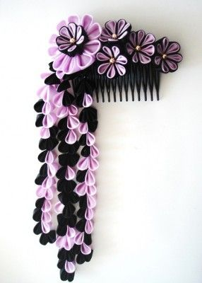 .Pink and Black blossoms - Kanzashi inspiration - idea only, links to a Russian website
