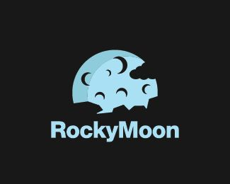 Rocky Moon Logo design - Logo design of a moon with a rocky landscape in front and a cloud on the side.  Price $260.00