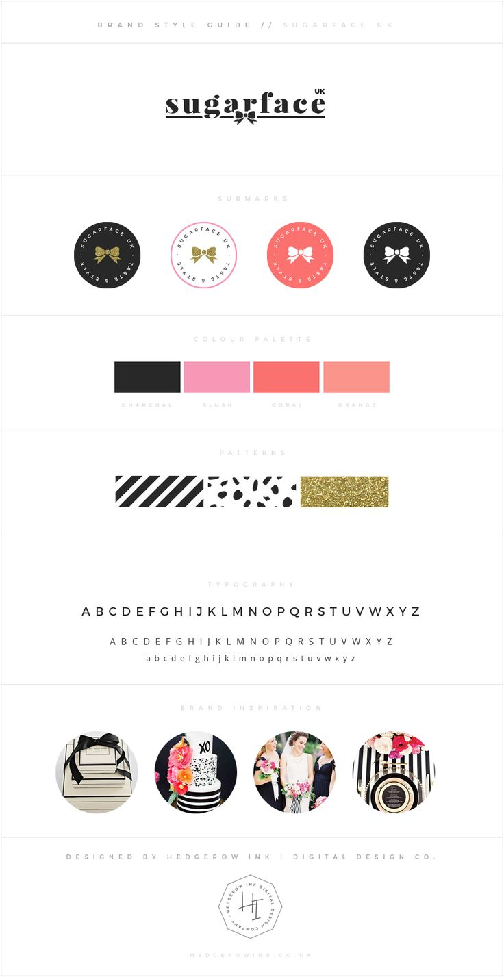 A bright and feminine brand for Sugarface - a UK table styling company. I choose a black and coral palette teamed with fun patterns and glittery gold for this Kate Spade inspired scheme.