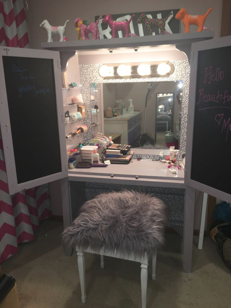 DIY TV armoire turned into beauty vanity.