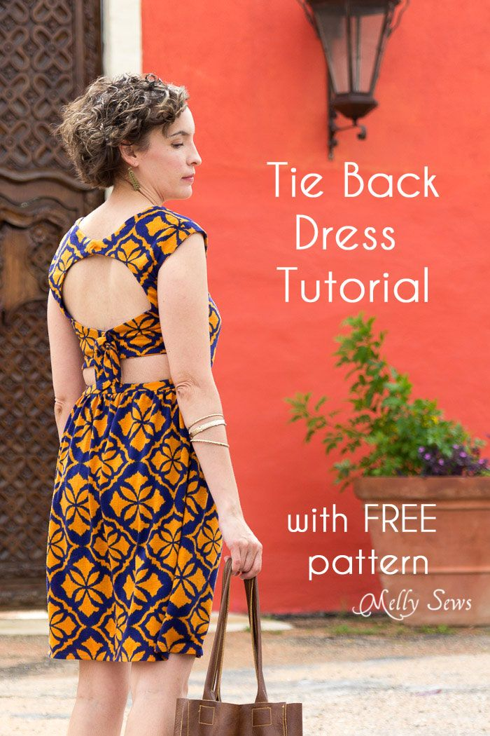 Make a tie back dress with this tutorial and free sewing pattern