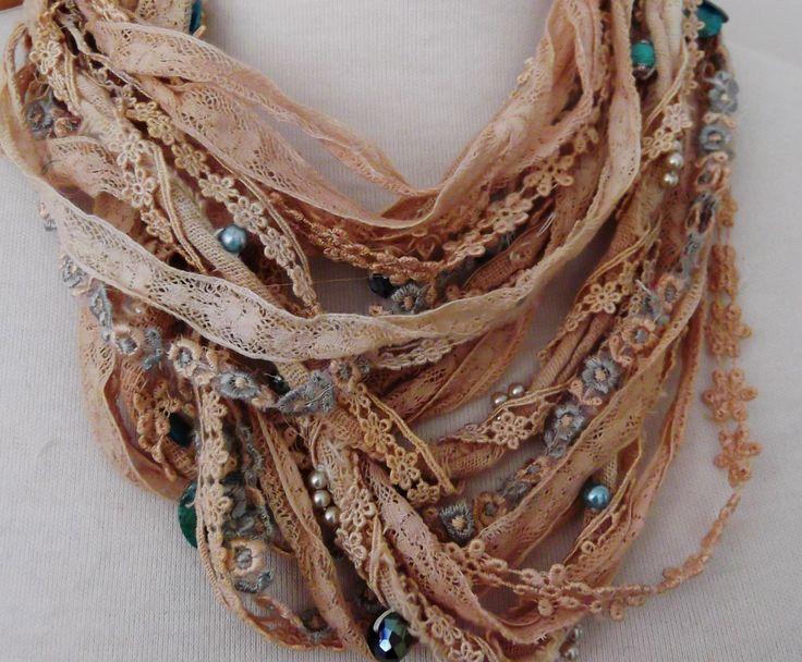 Shabby chic silk lace beaded necklace boho beaded от RawHemline