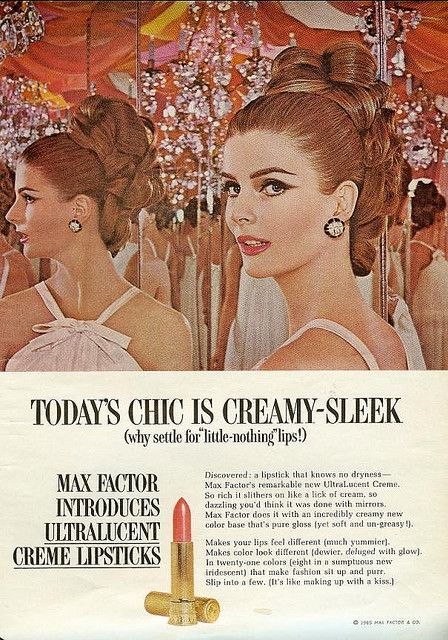 From Mademoiselle, May 1965. Vintage Max Factor Makeup Ad