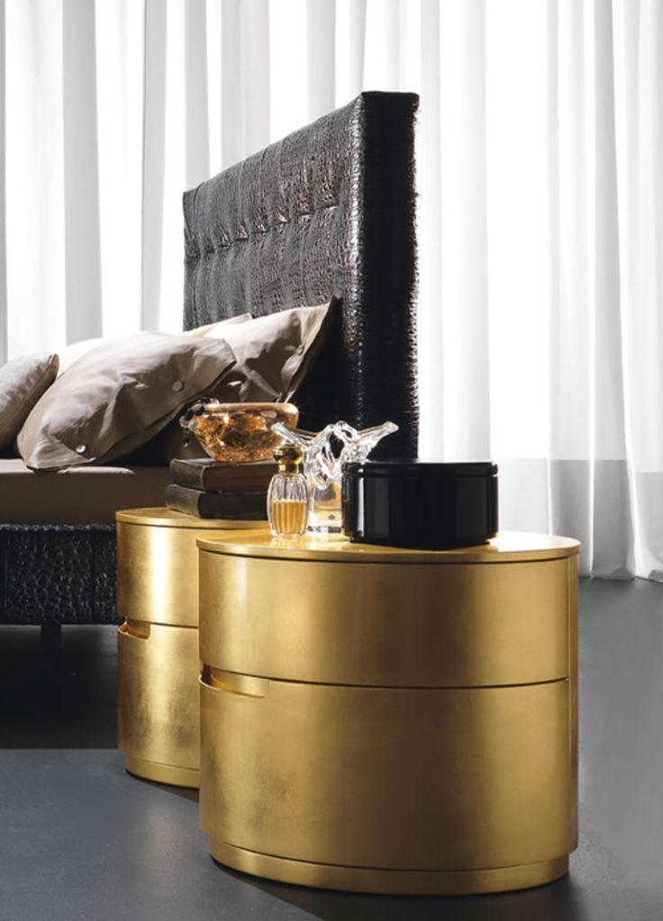 Gold leaf Bedside Cabinet for a touch of opulence in the bedroom. It also comes in silver! www.robinsonsbeds.co.uk  #gold #bedsidecabinets #bedsidetables