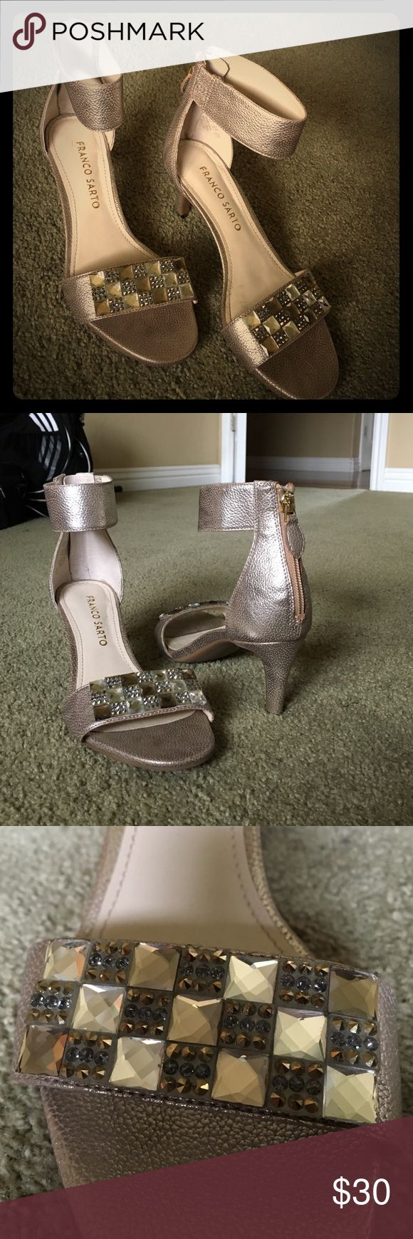 Champagne shimmering heels Champagne colored heels sigh embellished strap right before the toes. Very mature and gorgeous in pictures! Heel height: 2 inches Franco Sarto Shoes Heels