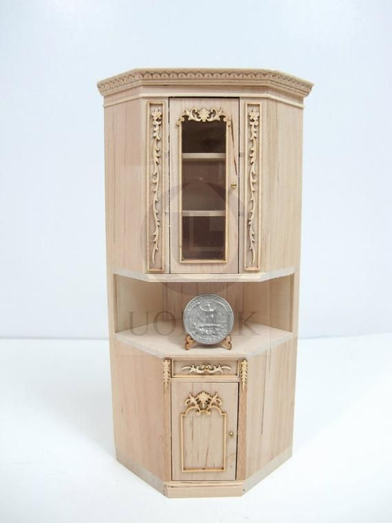 Miniature 1:12 One Scale French Provincial Corner Unit For Dollhouse-Unfinished