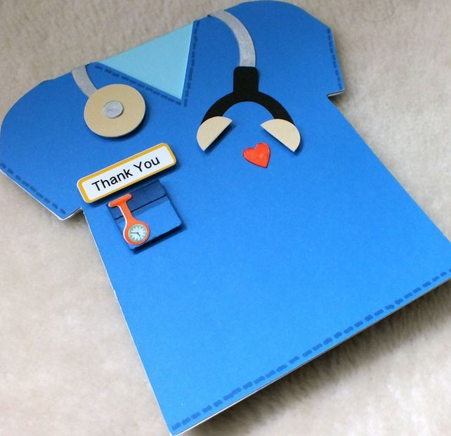 Cute handmade card for a Doctor or Nurse! Also could use baby-patterned paper for a nursery worker (and change the stethoscope to a baby rattle or pacifier).
