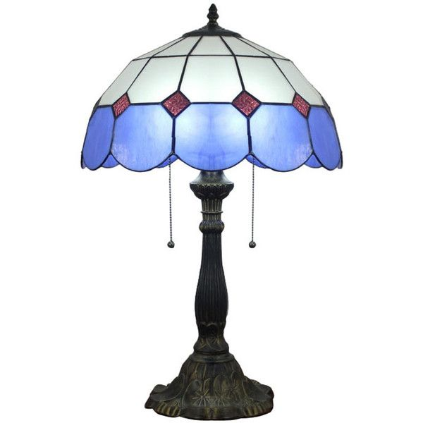 tiffany stained glass blue trimmed style table lamp u20ac145 liked on