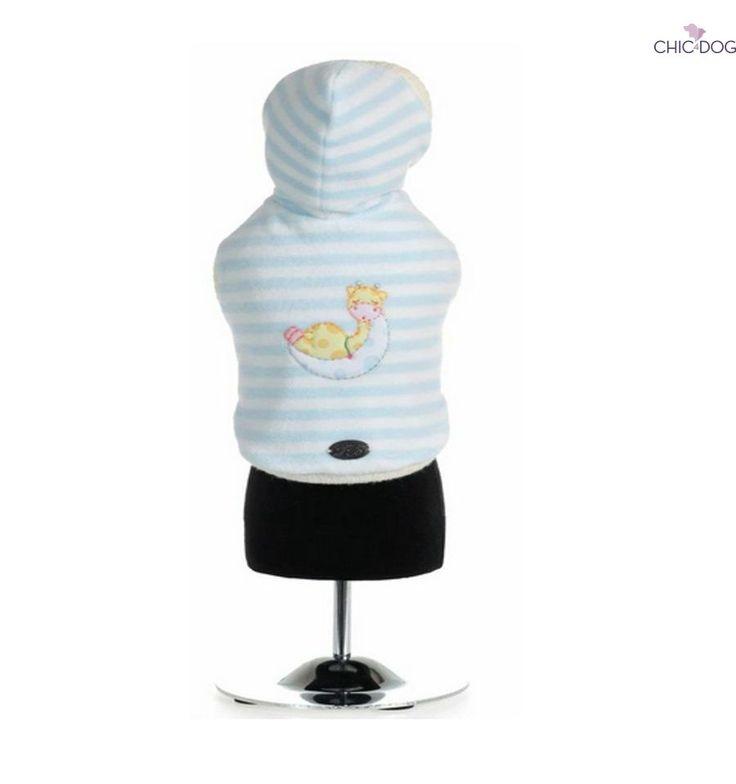 Basilio - Warm #dog #hoodie with light blue stripes - chenille | Felpa in ciniglia con motivo a strisce azzurre