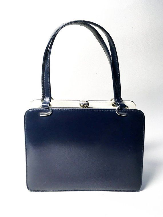 76563d92f4da French Retro Leatherette Handbag - Navy Blue and White - 60 s
