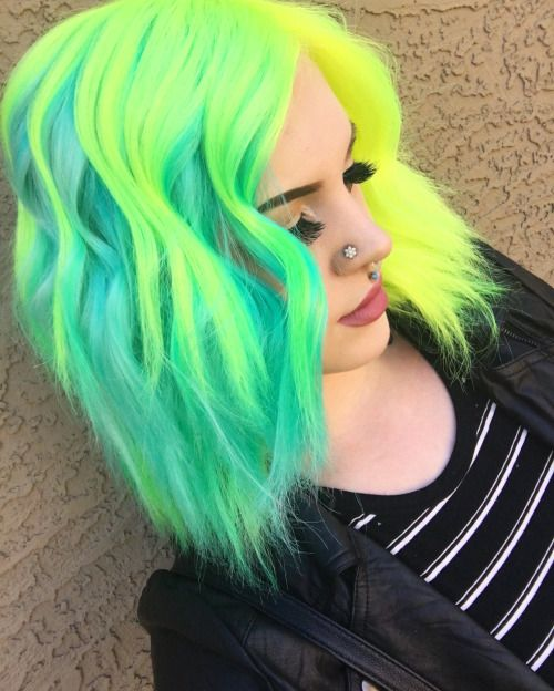 Neon green half dyed hair