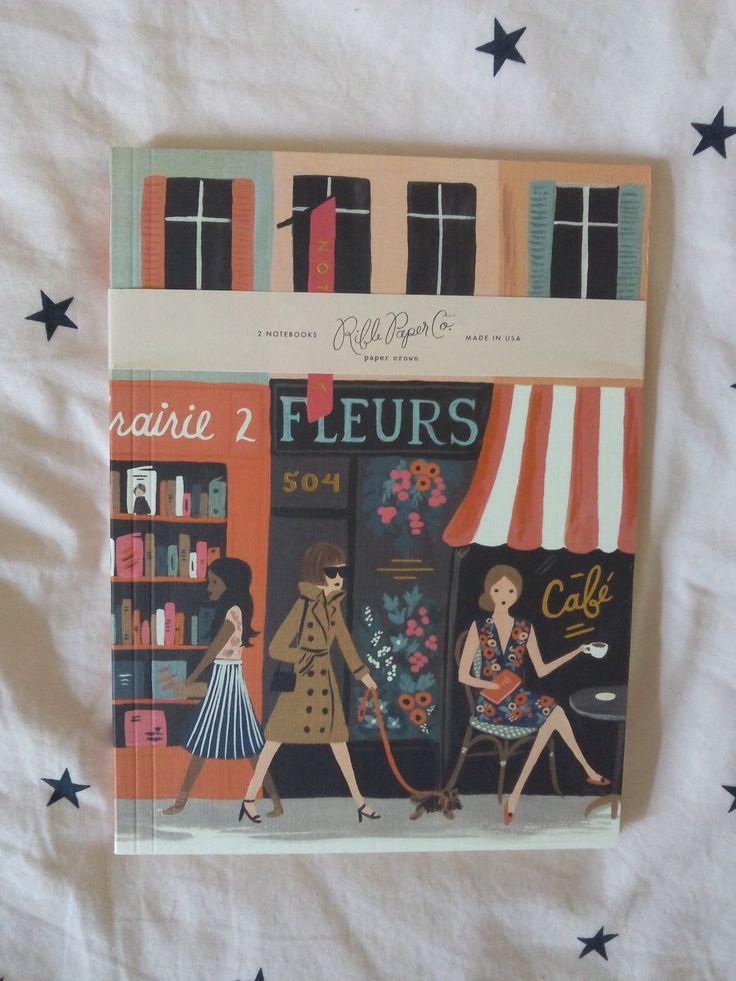 """Les 2 jolis grands carnets Rifle Paper Co , thème """"Parisienne"""" pour griffonner…"""