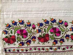 19th C Lovely ANTIQUE OTTOMAN-TURKISH GOLD & SILK HAND EMBROIDERY ON LINEN