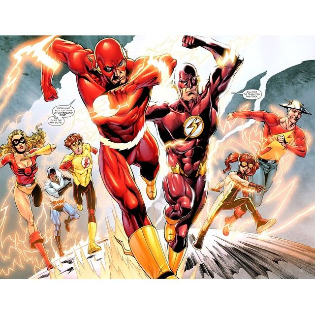 The Flash Family: (left to right) Jesse Chambers, Max Mercury, Bart Allen, Barry Allen, Wally West, Iris West II (Wally's Daughter), & Jay Garrick
