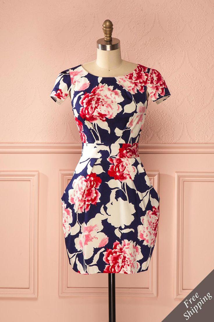 Robe trapèze bleu foncé imprimé fleurs roses blanches manches courtes - A-line dark blue dress white pink flowers print short sleeves