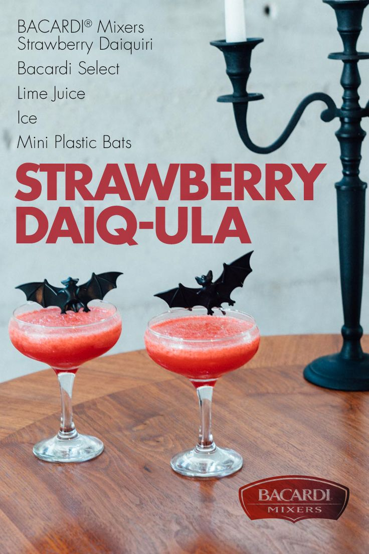 Here's a great-tasting cocktail you can't help but suck down! Our Strawberry Daiq-ula is the refreshing combination of BACARDI® Mixers Strawberry Daiquiri, BACARDI® Select rum, and just a little lime juice. Garnish with mini plastic bats for a little extra festive fun!