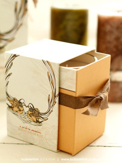 Slide out idea. Serenity Candle Packaging Illustrations - by Estelle Richard at Coroflot