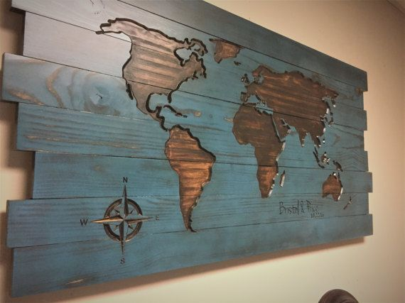 Family Name Sign Established Date Pallet Wood Map Wood by HowdyOwl