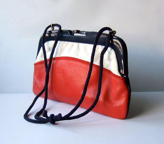 Vintage Nautical Purse Clutch Color Block Bag 70s. $22.00, via Etsy.