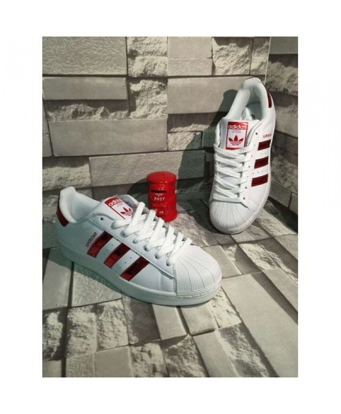 Adidas Superstar Junior White Red Shoes