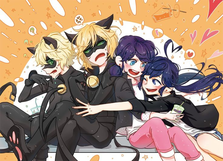 2D and 3D Marichat! (Miraculous Ladybug, Marinette, Chat Noir)
