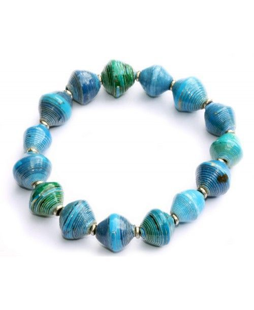 Recycled paper beads on sturdy elastic to create these colorful bracelets. Handmade in Nairobi, Kenya, paper beads are coated with a clear, non-toxic lacquer making them water-resistant and durable! -