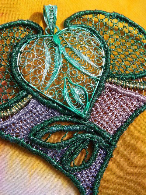 Cuore primaverile - Bohemian Needle Lace, merletto ad ago boemo e filigrana