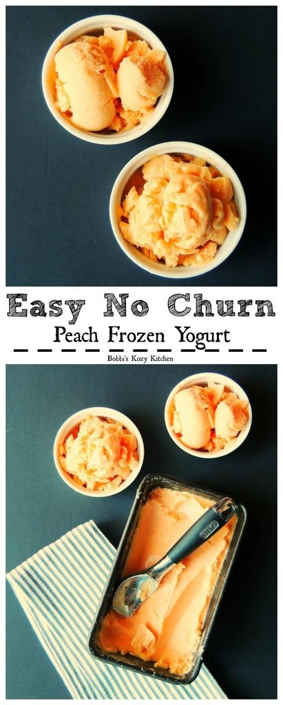 Easy No Churn Peach Frozen Greek Yogurt - quick and easy, this frozen yogurt is better than any store bought version you can find!