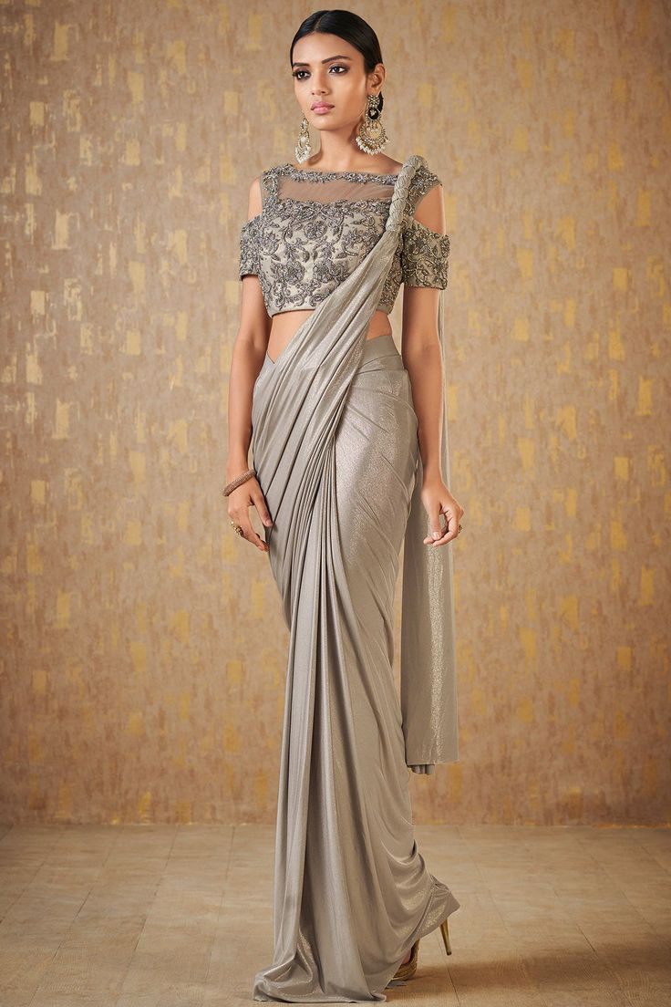 Buy Silver Grey Lycra Designer Saree Online | Indian sari ...