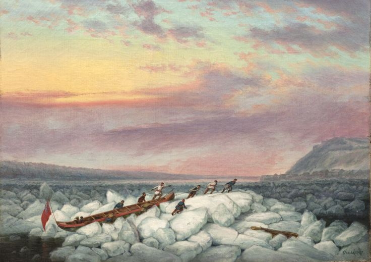 'Mail Boat Crossing' by Cornelius Krieghoff circa 1855  at Mayberry Fine Art