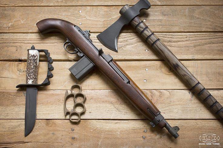 EDC for men.. M1 carbine pistol, knucks, skull crusher and hawk. Don't need much else. #oldschool #weaponsfanatics