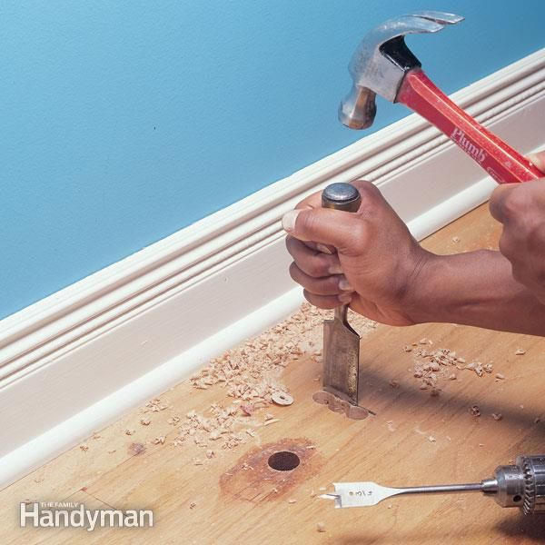 We'll show you how to replace a damaged hardwood floorboard in just a couple hours using basic carpentry tools. This article covers removing a hole-filled or otherwise damaged tongue-and-groove board, then installing a new one.