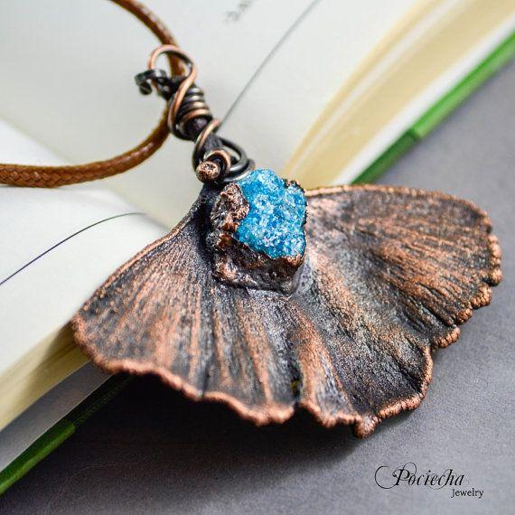 Ginkgo Necklace Apatite BotanicalLeaf by POCIECHAjewelry on Etsy