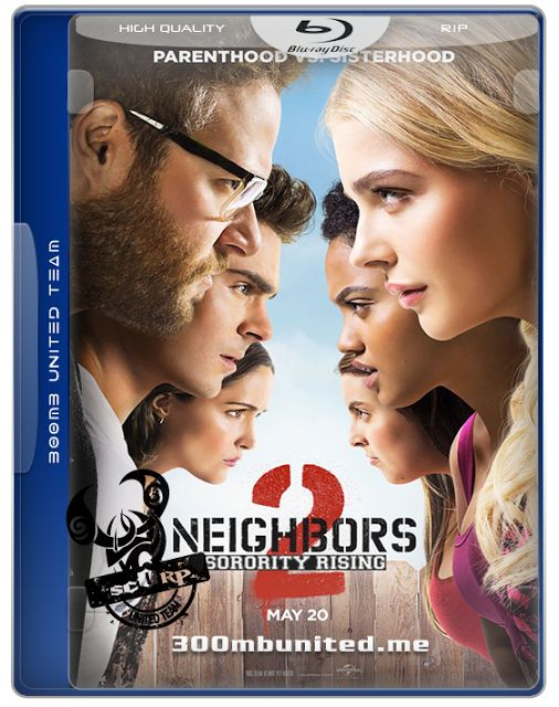 Neighbors 2: Sorority Rising (2016) Information: ---------------------------------------------------------- Rating: 6.4 (5,846 votes) Language: English Country: USA Runtime: 92 min All Genres: Comedy Director: Nicholas Stoller Written By: Andrew Jay Cohen, Brendan O'Brien, Nicholas Stoller, Seth Rogen, Evan Goldberg Cast:Seth Rogen, Zac Efron, Rose Byrne, Chloë Grace Moretz