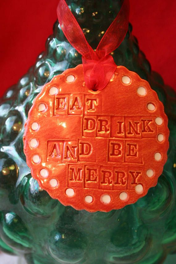 Eat Drink and Be Merry Wine Charm Label & Christmas Hat Mini