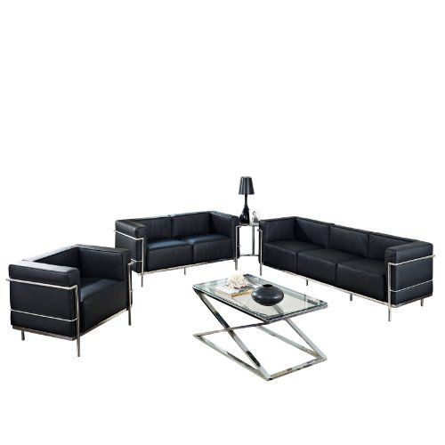 Lexmod Leather Le Corbusier Style Lc3 Armchair Loveseatm And Sofa In Black With Eileen Gray Side