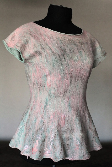 by Marina Shkolnik     - Nuno Felted Tunic    silk chiffon, soy silk, merino wool