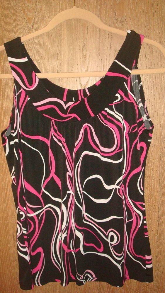 Carol Rose Women's M Stretch Black Pink Tank Print Top Sleeveless Blouse Medium #CarolRose #TankCami #Casual