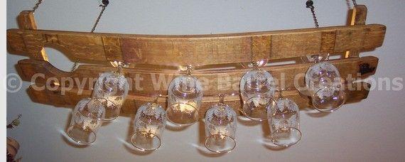 Colgante vidrio parrilla parrilla copas por winebarrelcreation