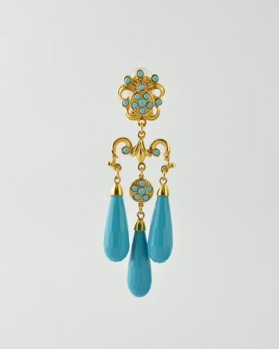 TURQUOISE 3 TEAR DROP 24 Karat gold plated medium size faceted lucite turquoise color  tear drop earring .  Earring is clip on . Earring is 3.5 inches long and 1 inch at widest point. Get a 20% discount with promo code: Olusegun683. $315