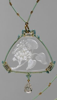 Lalique 'Lilacs' Pendant & Chain, 1904-05 signed: gold/ enamel/ engraved glass/ diamonds   MM of Art, NY