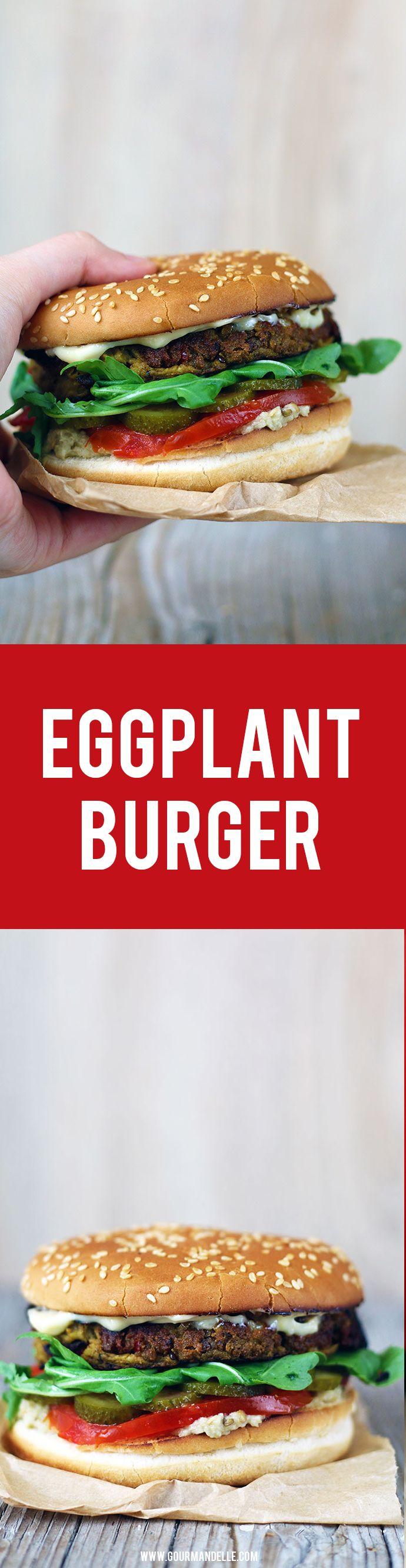 You'll love this eggplant burger recipe! This vegan eggplant burger recipe is extremely easy to make, has a subtle garlic taste and strong za'atar flavor. #eggplant #veganburger #burger https://gourmandelle.com/eggplant-burger/